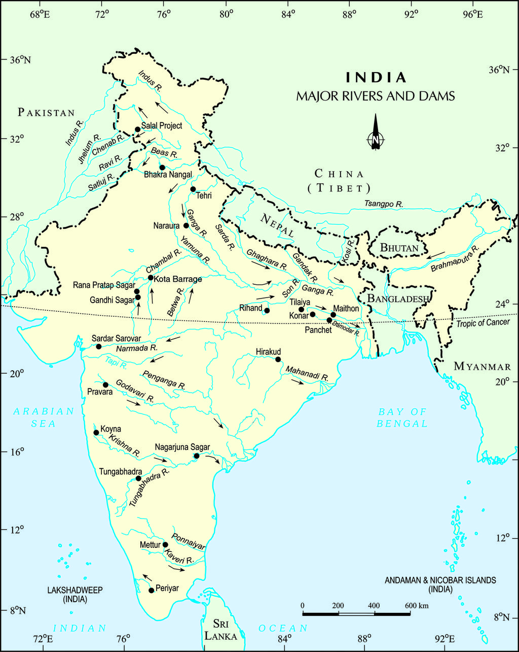 Major Rivers and Dam in India