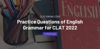 Practice Questions of English Grammar for CLAT 2022